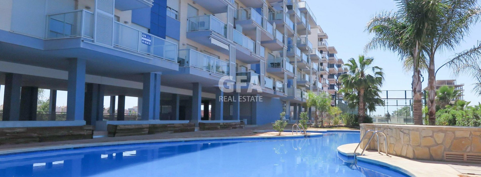 Residencial Veles Blanques de obra nueva en Moncófar piscina